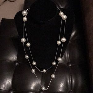 Jewelry - NWT Pearl and silver double strand necklace!